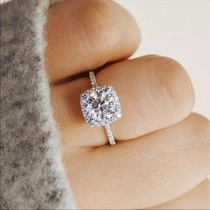 new silver plated halo simulated squareAAA CZ ring